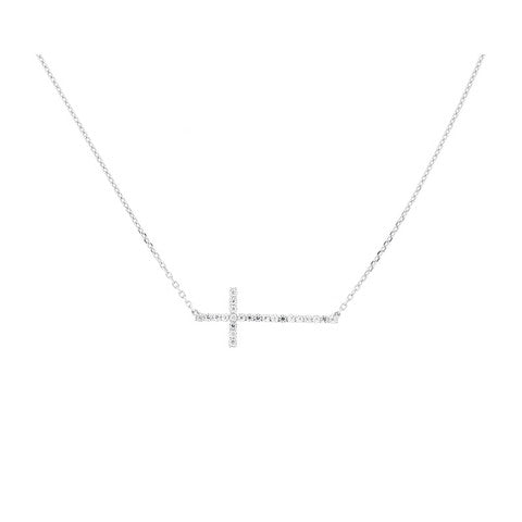 CZ Sterling Silver Cross Necklace