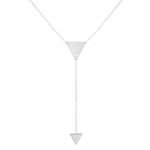 CZ Sterling Silver Triangle Lariat Necklace