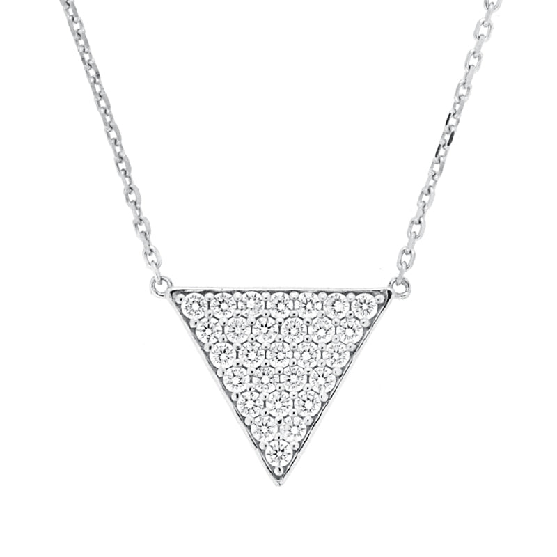 CZ Sterling Silver Triangle Necklace