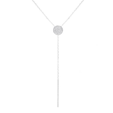 CZ Sterling Silver Lariat Necklace