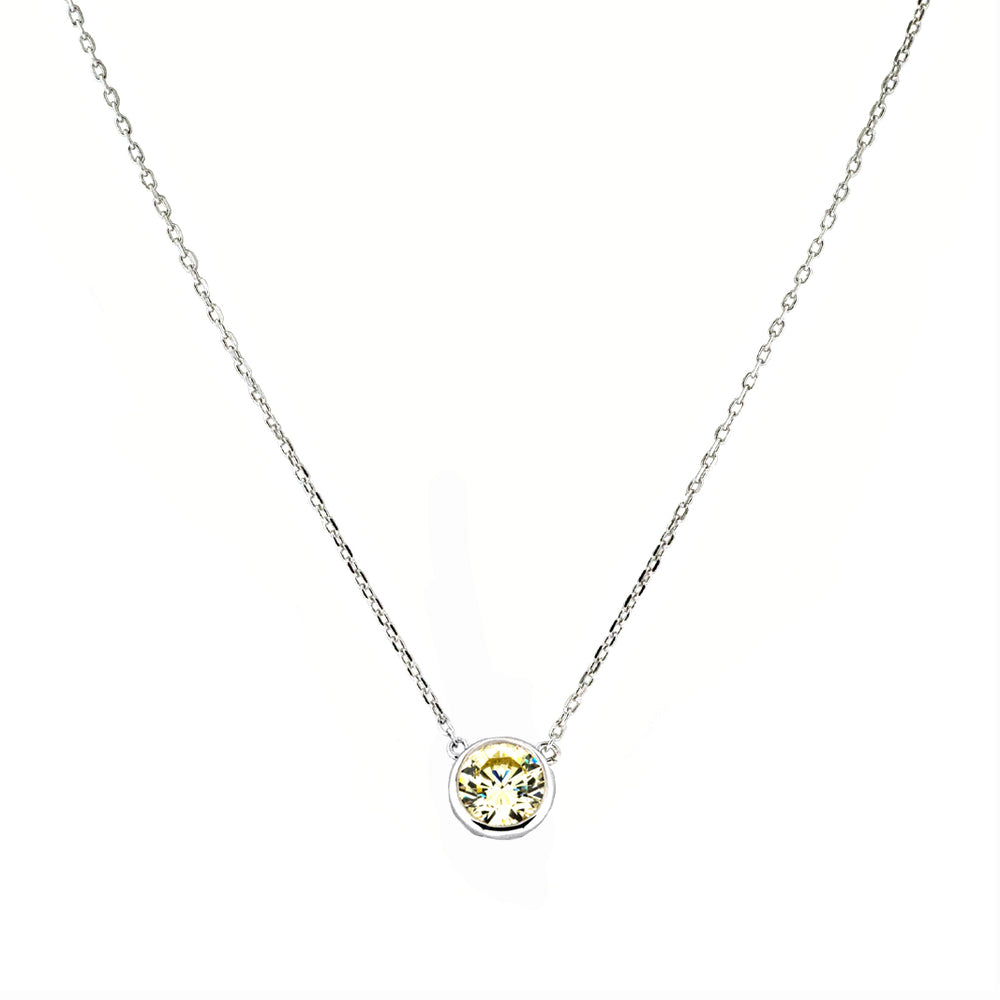 CZ Sterling Silver 1CT Solitaire Necklace