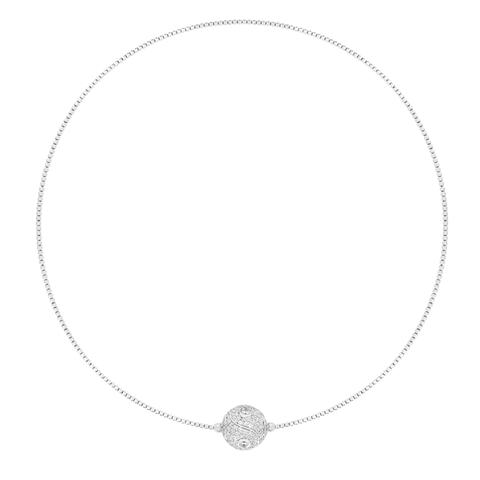 CZ Sterling Silver Pave Ball Necklace