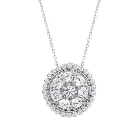 CZ Sterling Silver Round Cluster Necklace