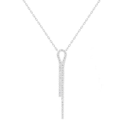 CZ Sterling Silver Line Necklace