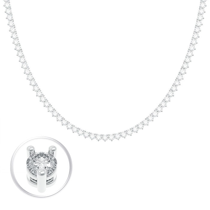 "CZ Sterling Silver 17"" Tennis Necklace"