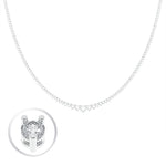 "CZ Sterling Silver 17"" Graduated Stone Tennis Necklace"