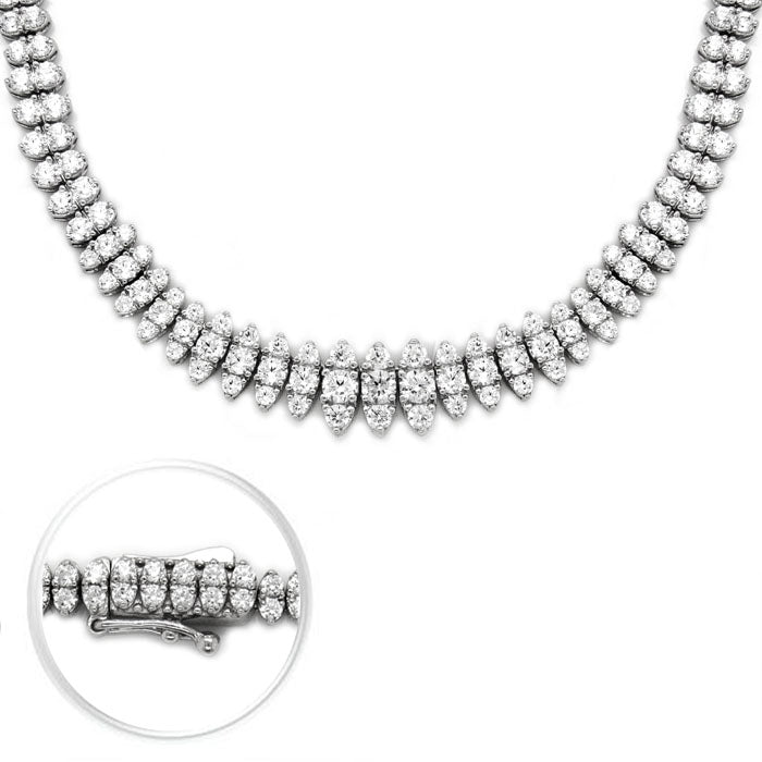 CZ Sterling Silver 3 Row Tennis Necklace