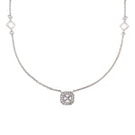 CZ Sterling Silver Cushion Station Necklace