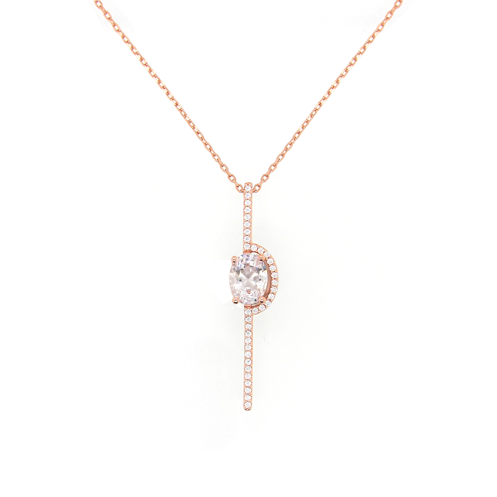 CZ Sterling Silver Stick Necklace