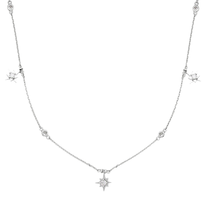 CZ Sterling Silver Star Charms Station Necklace