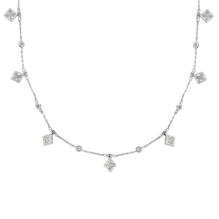 CZ Sterling Silver Charm Station Necklace