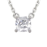 CZ Sterling Silver Cushion Cut Solitaire Necklace