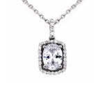 CZ Sterling Silver Oval Halo Solitaire Necklace