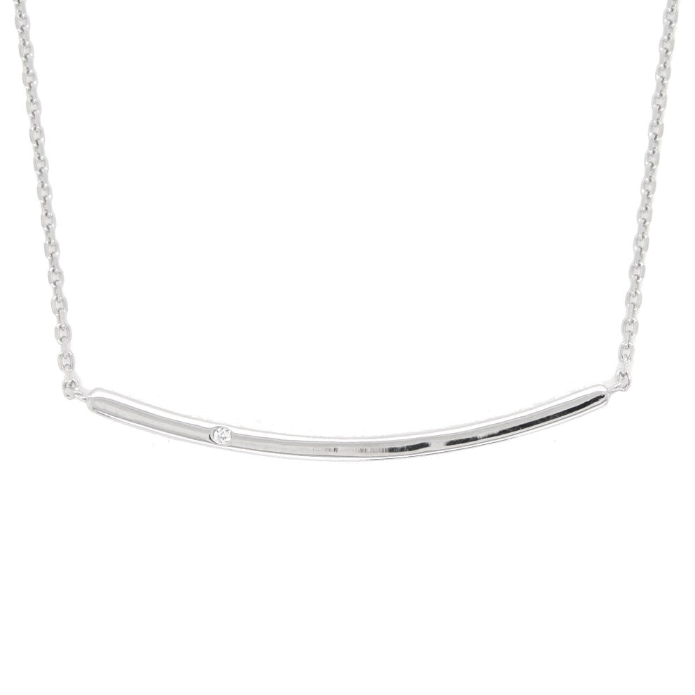 CZ Sterling Silver Bar Necklace