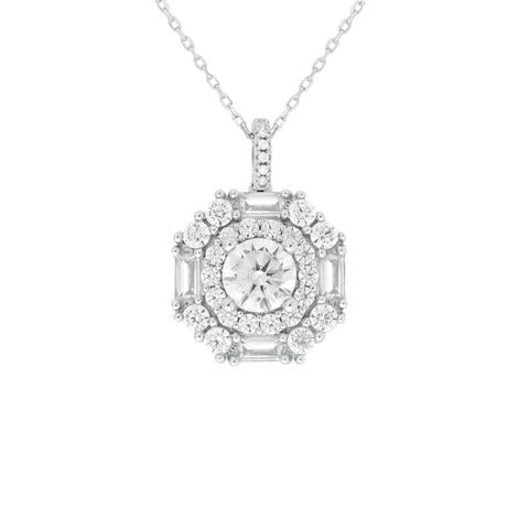 CZ Sterling Silver Halo Necklace