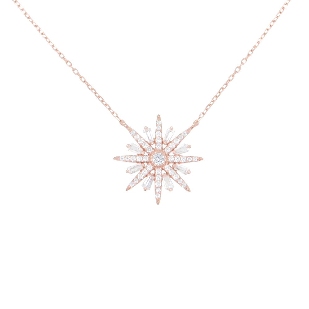 CZ Sterling Silver Snowflake Necklace
