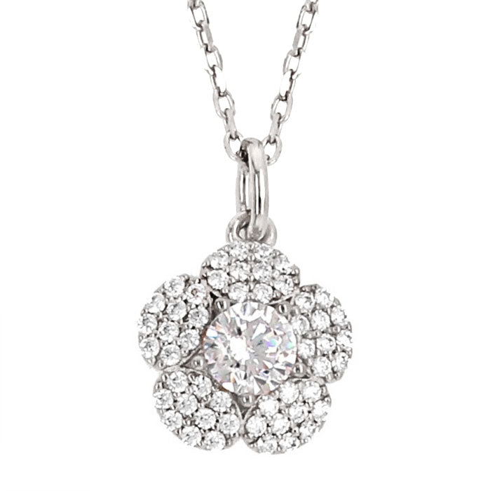 CZ Sterling Silver Cluster Flower Necklace
