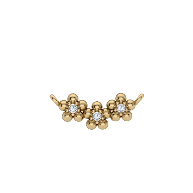 Gold Diamond 3 Stone Flower Necklace