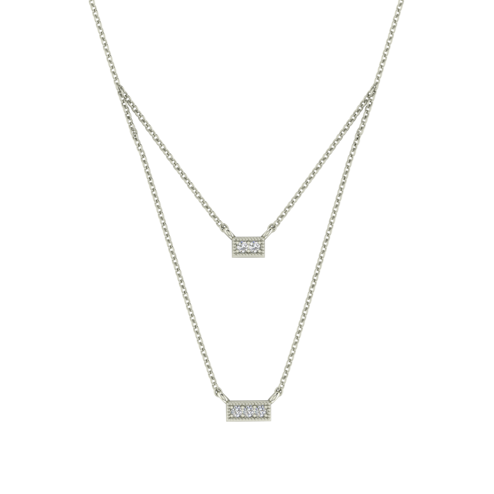 Gold Diamond Double Necklace