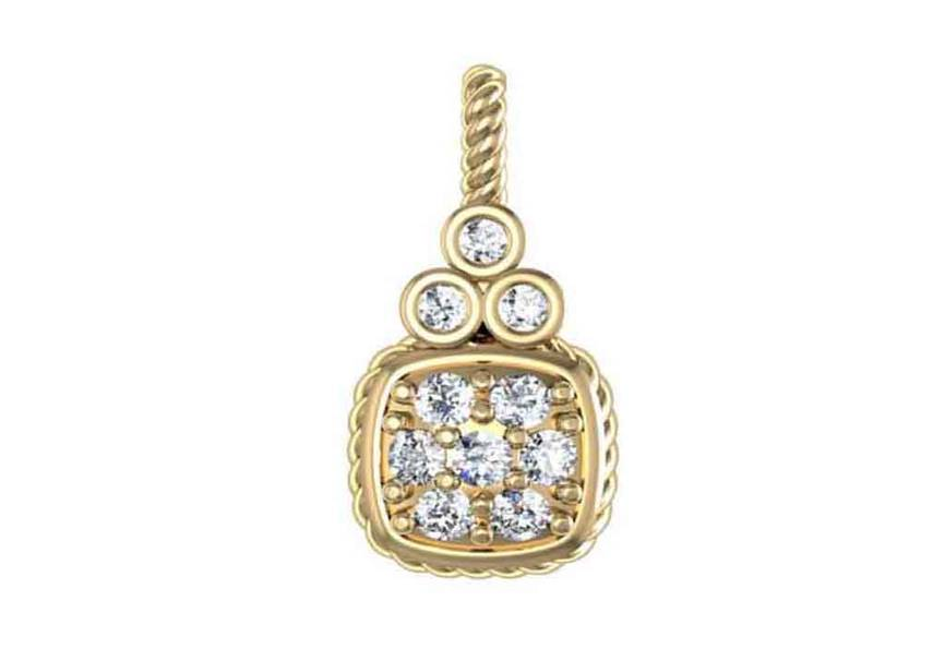 Gold Diamond .17 CTW Rope Pendant