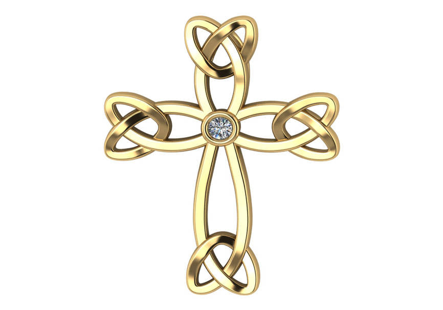 Gold Diamond .15 CTW Celtic Cross Pendant