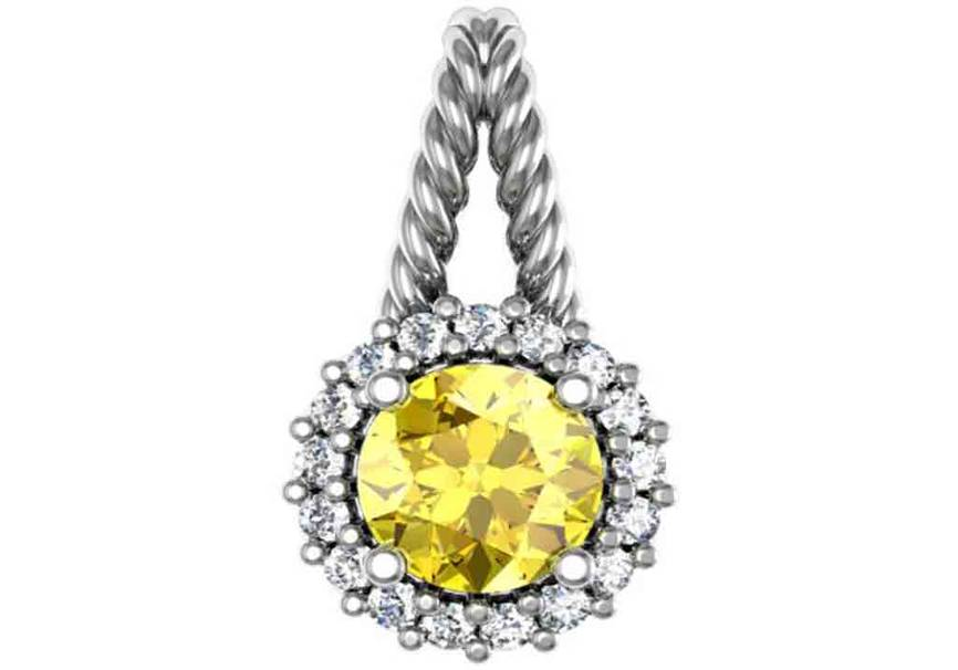 Gold Diamond .17 CTW and Gemstone Pendant