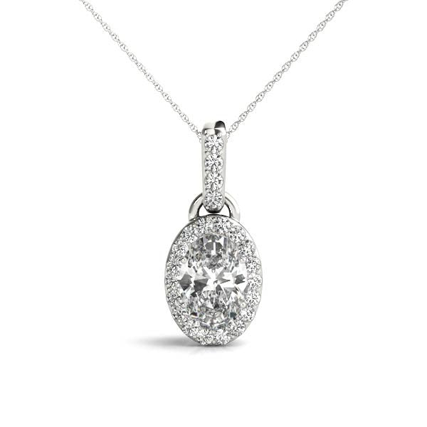 Gold Diamond .15 CTW Oval Halo Pendant