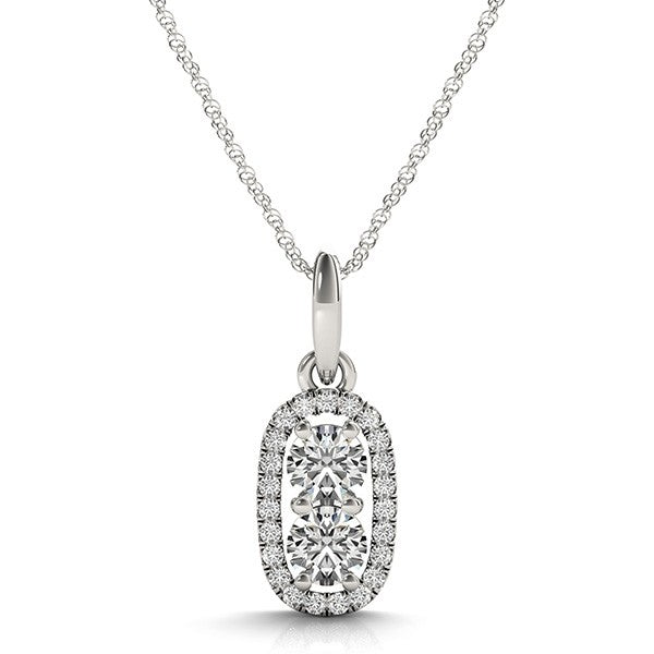Gold Diamond .14 Ctw 2 Stone Semi-Mounting Pendant