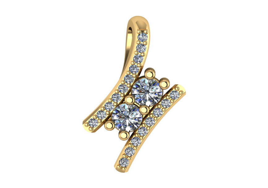 Gold Diamond .40 Ctw 2 Stone Pendant Mounting