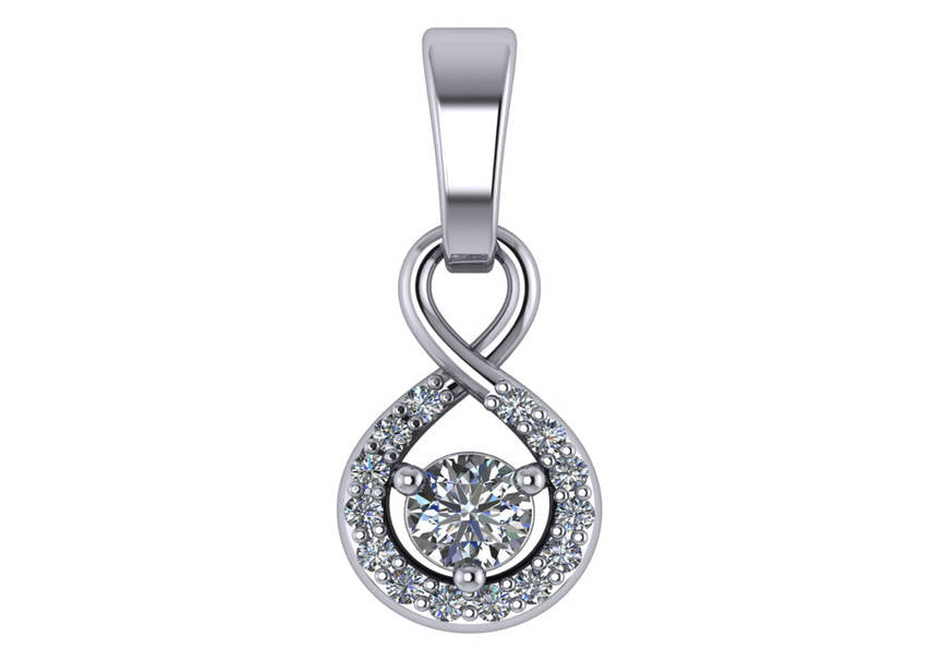 Gold Diamond .15 Ctw Halo Pendant Mounting