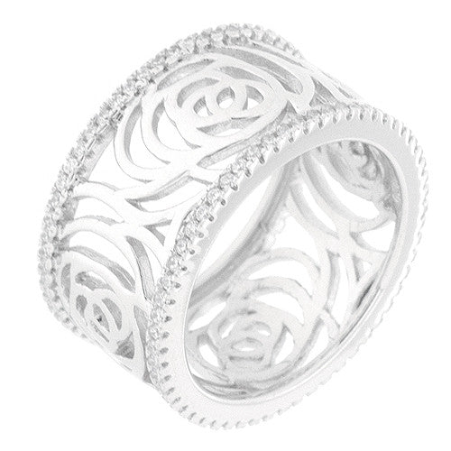 CZ Sterling Silver Floral Fashion Ring