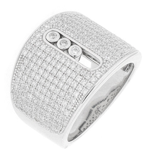 CZ Sterling Silver Micro Pave' Fashion Ring