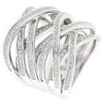CZ Sterling Silver Criss Cross Ring