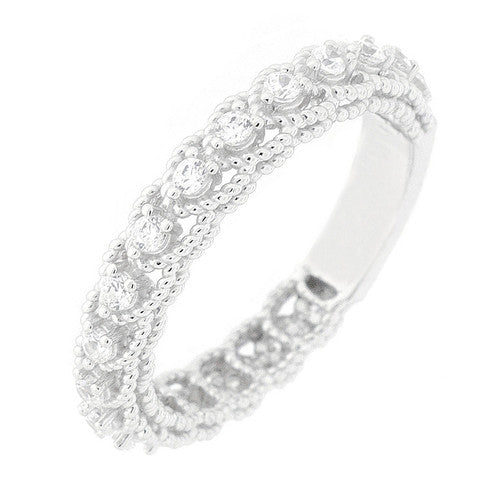 CZ Sterling Silver Rope Edge Ring