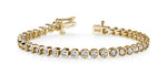Gold Diamond Half Bezel Set Tennis Bracelet    SB987