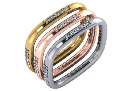 Gold Diamond .20 CTW Designer Stack Ring