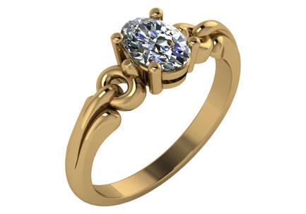 Gold Oval Stone Ring Mounting