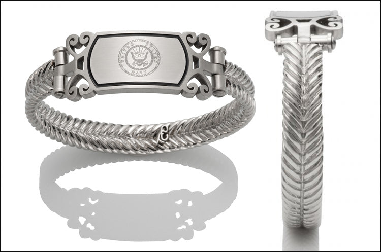 Women's Navy Bracelet - Embossed