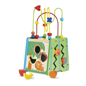 Baby equipment rental in Lisbon, Portugal. Wooden activity centre a simple and fun toy that cannot be left apart.