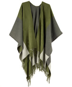 Olive Drab - Colorblock Reversible Ruana