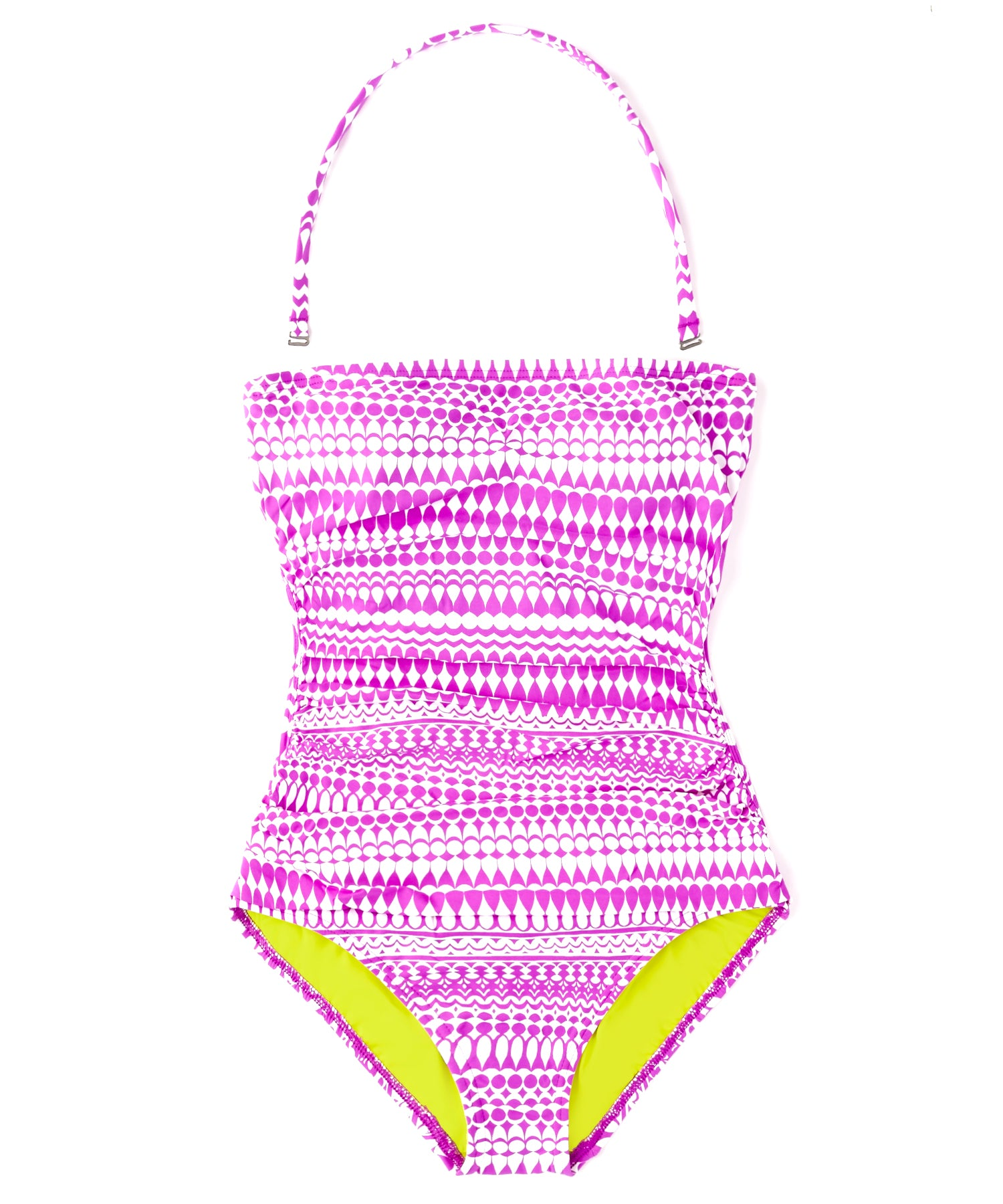 Bright Orchid - Geo Print Ruched One Piece