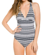 Black - Geo Cross Back One Piece