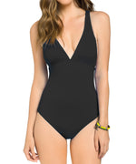 Black - Solid Cross Back One Piece