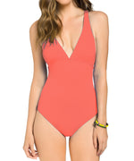 Island Coral - Solid Cross Back One Piece