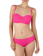 Fuchsia Flower - Solid Ruched Bottom