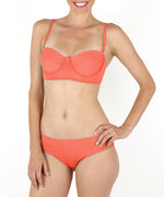 Bright Coral - Solid Ruched Bottom