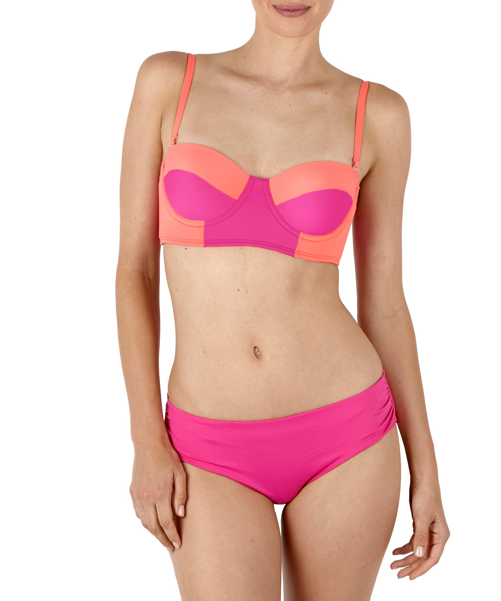 Fuchsia Flower - Colorblock Underwire Bikini Top