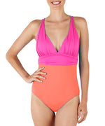 Bright Coral - Colorblock Plunge One Piece
