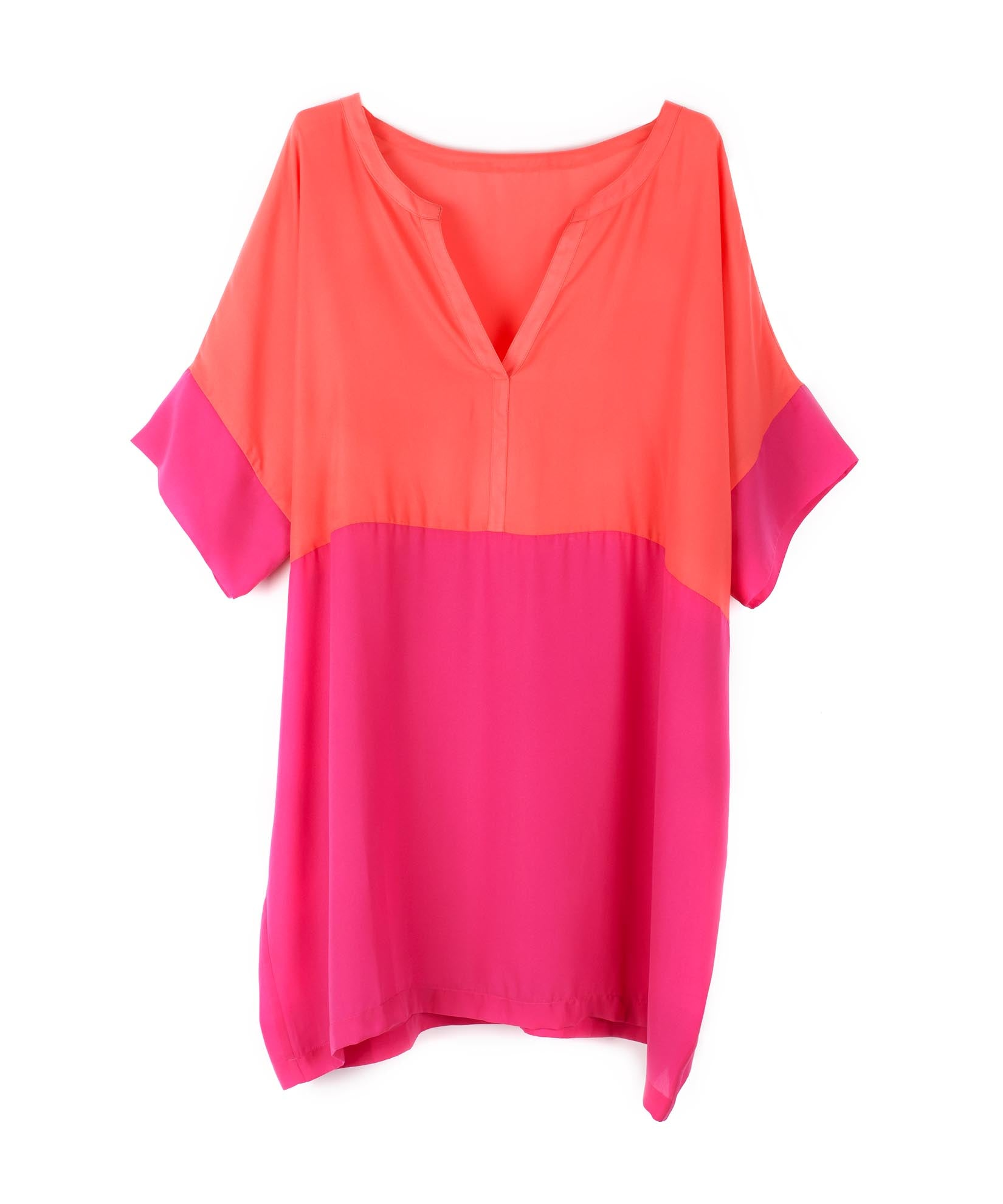 Fuchsia Flower - Colorblock Geri Tunic
