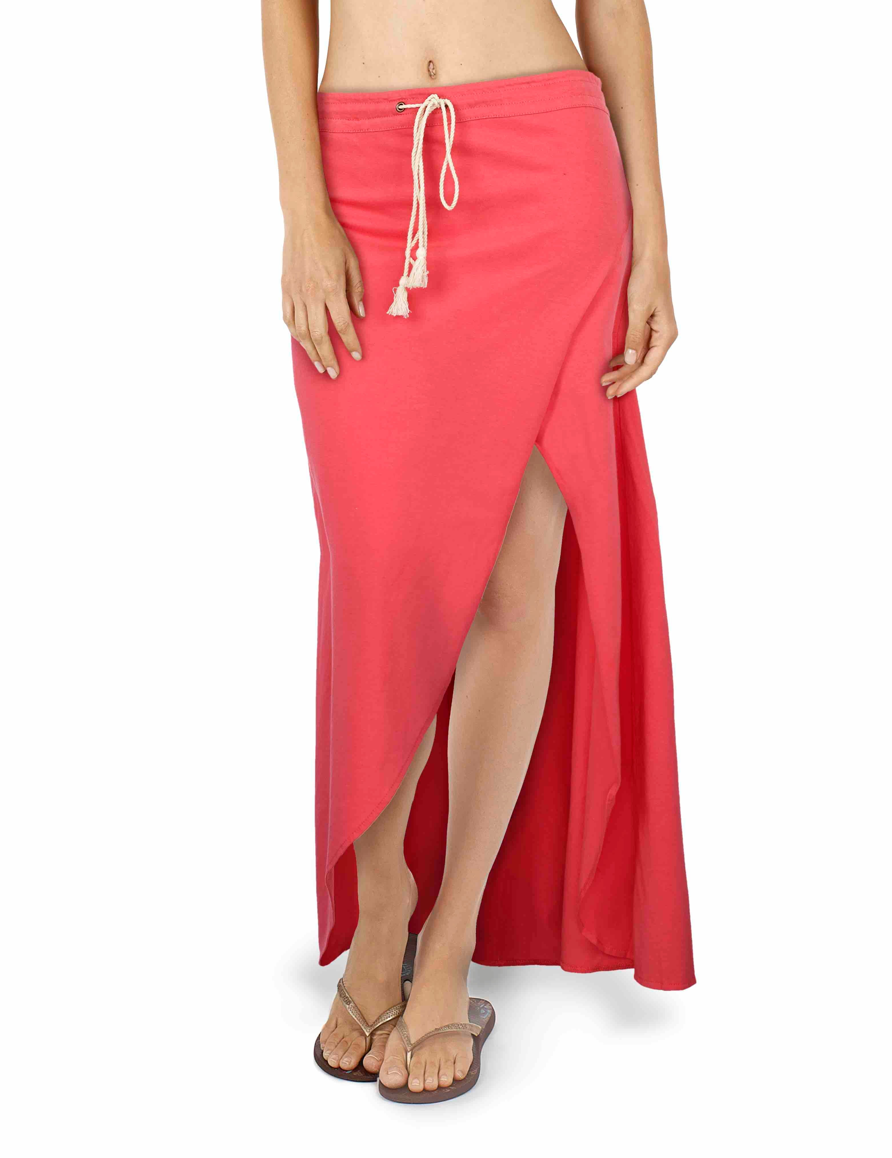 Bright Coral - Solid Convertible Skirt